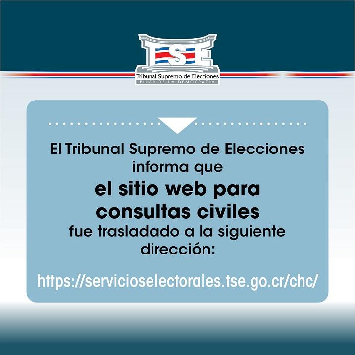 El TSE informa que el sitio web para consultas civiles fue trasladado